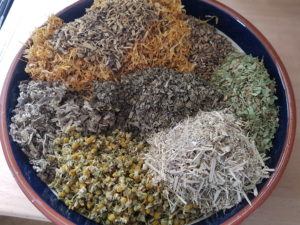 Dried herbs in a bowl